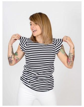 camiseta volante keep lovers raya negra